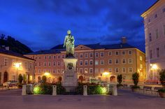 Mozart Statue In Mozartplatz, Salzburg, Austria by Elenarts - Elena Duvernay photo Lucca, Salzburg Austria, Austria Travel, Famous Places, Travel Photos, Fine Art America, Mansions, Bike Rides, House Styles