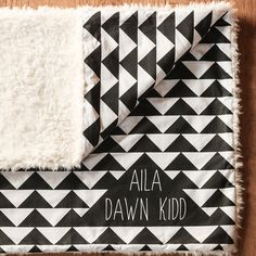 Personalized Baby Blanket, Monogram Baby Blanket, Minky, Geometric Triangles, Stroller or Car Seat Blanket, Soft Cuddle Llama Minky