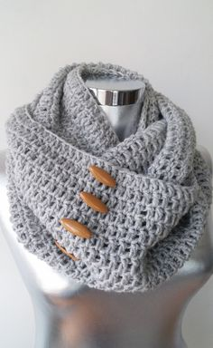 Knit Button Infinity Scarf Circle Scarf Winter by Scarfashion