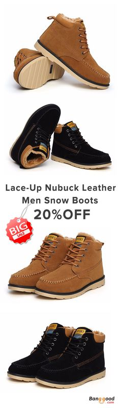 US$28.98+Free shipping. Nubuck Leather Snow Boots, Cotton, Keep Warm, Lace-Up, Outdoor, Comfortable. Color: Black, Yellow. Shop now~