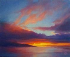 Sunset colours - Light in clouds at Sunset oil sketch Fire Painting, Sunrise Painting, Painting Clouds, Abstract Landscape Painting, Landscape Paintings, Sunset Paintings, Painting Inspiration, Colour Inspiration, Cityscape Art