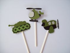 12 Airplane Tank Helicopter  Cupcake by CardCraftersCorner on Etsy