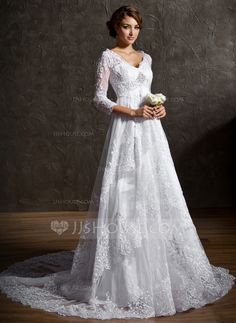 Wedding Dresses - $326.99 - A-Line/Princess V-neck Court Train Satin Tulle Wedding Dress With Lace Beadwork Sequins (002004758) http://jjshouse.com/A-Line-Princess-V-Neck-Court-Train-Satin-Tulle-Wedding-Dress-With-Lace-Beadwork-Sequins-002004758-g4758