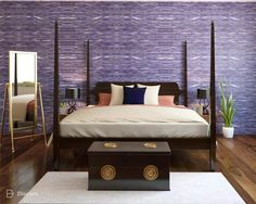 Place the wallpaper behind your bed for an impressive backdrop. If you are one to be intimidated by bold graphics in a bedroom, use a wallpaper with a subtle texture to soften the walls. Indigo blue is a naturaland hence a very restfulcolour, ideal for your bedroom. Every intensity, whether deep or light, achieves a sense of peace in the room. Most colour and Vaastu experts today recommend the use of blue in your bedroom.