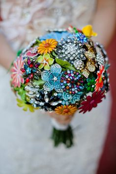 colorful handmade vintage brooch bouquet - the bride spent months searching for the pieces and made it herself - captured by http://www.marvelousthingsphotography.com