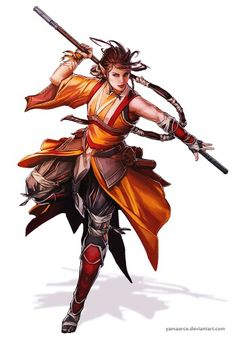 Female Elf Monk - Pathfinder RPG PFRPG DND D&D d20 fantasy
