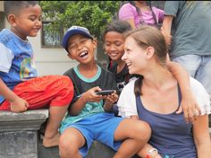 Volunteer Eva and her students playing during the break and are having a moment of laughter. #adorable #cute