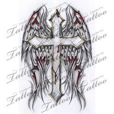 Marketplace Tattoo Gothic Cross and Tribal Wings #2886 | CreateMyTattoo.com