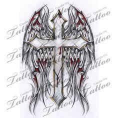 Marketplace Tattoo Gothic Cross and Tribal Wings #2886   CreateMyTattoo.com