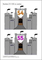 Numbers 51-100 on castles (SB11266) - SparkleBox