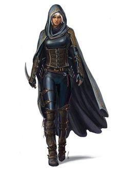 f Half Elf Rogue Assassin Leather Armor Cloak Daggers urban City undercity Dungeons And Dragons Characters, Dnd Characters, Fantasy Characters, Female Characters, Female Character Concept, Fantasy Character Design, Character Art, Rogue Character, Inspiration Drawing