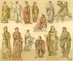 Roman costumes. Clothing in ancient Rome generally comprised for men: the toga, the tunic, the stola, pallium, brooches for these, and breeches; for women: tunic, palla, stola and fibulae (http://en.wikipedia.org/wiki/Roman_costume).