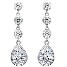 EleQueen 925 Sterling Silver Full Clear Cubic Zirconia Teardrop Bridal Dangle Earrings -- To view further for this item, visit the image link.-It is an affiliate link to Amazon. #WeddingEarrings