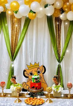 "The Lion King ""Hakuna Matata"" Baby Shower Party Ideas Photo 1 of 14 Fiesta Baby Shower, Baby Shower Fun, Baby Shower Parties, Shower Party, Baby Party, Baby Showers, Lion Party, Lion King Party, Baby Shower Decorations For Boys"