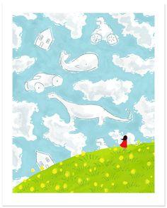 LOVE this etsy shop Childrens Wall Art Print - Cloud Gazing - 8x10 - Kids Nursery Room Decor via Etsy