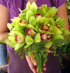 Ramo de puras orquideas verdes. Exquisito!!