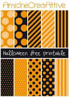Orange & Black; Dots & Stripes   Printable Halloween Papers – Scrap Booking