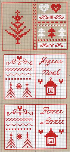 red, white and grey #cross-stitch #chart