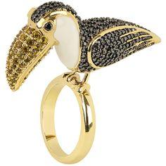 Noir Women's Sao Paulo Rio Parrot CZ Cocktail Ring  - Gold, Size 8 ($75) ❤ liked on Polyvore featuring jewelry, rings, gold, 14k cz rings, 14k ring, yellow gold cubic zirconia rings, cubic zirconia rings and 14k cubic zirconia rings