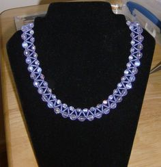 My lilac-blue necklace with bugles and firepolish rounds.