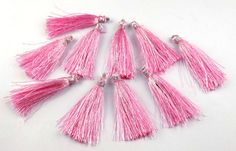 10 Pcs Beautiful Pink Color Silk Beautiful Necklace Making Link 2  Long Tassel