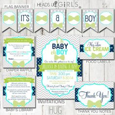 Digital Printable Navy Aqua & Lime Little Man Baby Shower Party Package includes, Invitations, Banner, Diaper Raffle Tickets, Library Cards, Thank You Notes, Food Table Labels, 4 Shower Games, Cupcake Toppers, Cupcake Wrappers, Place Setting Cards, Treat Bag Toppers by HeadsUpGirls, $45.00