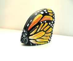 Painted Rock Monarch Butterfly, Original by Shelli Bowler
