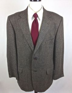 WOOLRICH-Blazer-Mens-46-R-Wool-Tweed-2-Button-Sport-Coat-Suite-Jacket-Brown