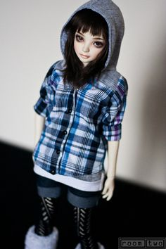 Check shirt hoodie clothing for MSD JID 1/4 size BJD by RoomTwo, £15.00