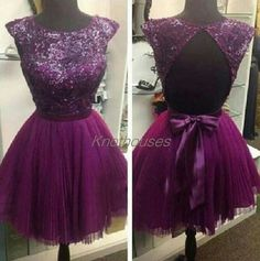 Cap sleeves Lace Beading Top pleated Tulle Prom dress/Purple prom dress/Mini Dress  This dress can be custom made, both size and color can be custom made. Custom size and color made will charge for no extra. If you need a custom dress, please send us messages for your detail requirements.  Fo...