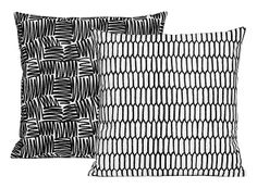 Scribble pillow cases with graphic patterns, One Nordic