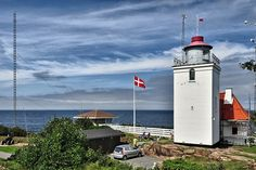 """Lighthouse Hammerodde in September 2003. The square tower was built as suppliment to Hammer Fyr and is also called """"little fire - lille fyr"""" but not open for public."""