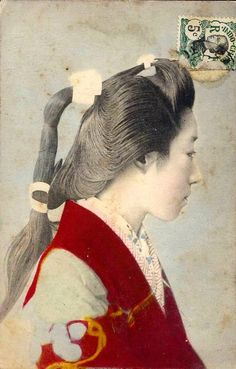 Young priestress with shimada (島田) hairstyle hand-colored postcard from Indochina - Japan - 1900s-1940s