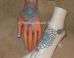 Artículos similares a Khaki Tan Barefoot Sandals, Shoes, Jewelry, Toe, Rings, Foot, Fashion, Yoga, Ballet, Hippie, Gothic, Friendship en Etsy