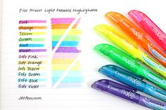Pilot FriXion Light Erasable Highlighter - 6 Color Set These amazing FriXion Light highlighters are erasable! Perfect for erasing mistakes on your textbooks and notes.