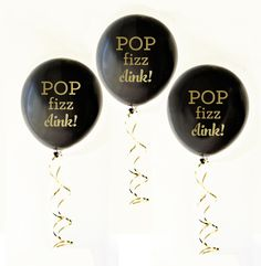 LOVE these gold text balloons for a birthday or champagne bar - via BirdsParty.com