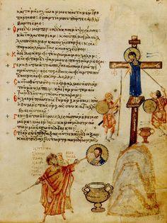Folio 67 du Psautier Chloudov : La Crucifixtion, iconoclaste détruisant une…