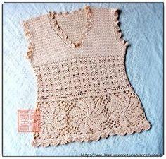 Blusa em Crochê Sem Mangas com Grafico - Katia Ribeiro Crochê Moda e Decoração Handmade