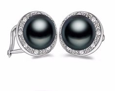 Stylish Solid Black Color Natural Pearl Earrings For Women Size: 8-9Mm