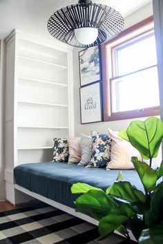 DIY Built in Daybed with Bookshelves, One Room Challenge, Minted Art and Pillows www.BrightGreenDoor.com