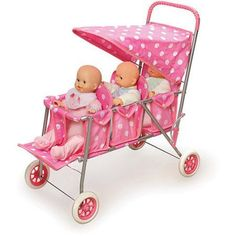 Badger Basket Triple Doll Stroller Pink Polka Dots Fits Most 18 inch Dolls & My Life As Baby Alive Dolls, Baby Dolls, Toys For Girls, Kids Toys, Toddler Toys, Baby Doll Strollers, Baby Doll Accessories, Bitty Baby, Pink Polka Dots