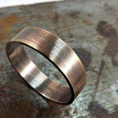 elegant bronze ring rustic wedding ring 4mm or 5mm wide ring band mens ring modern ring oxidized matte finish