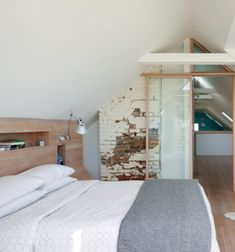Glass and wood creating an airy feel of space in a loft room. Loft Room, Bedroom Loft, Home Bedroom, Master Bedroom, Master Suite, Extra Bedroom, Upstairs Bedroom, Attic Bathroom, Bedroom Office