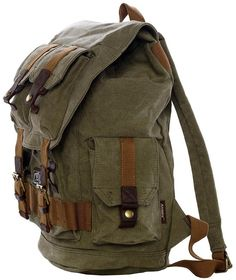 * Premium quality Army Green Canvas Travel Rucksack Backpack with Many Pockets