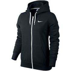 Nike Club Fleece Full-Zip Hoodie Black ($55) ❤ liked on Polyvore featuring activewear, activewear tops, jackets, outerwear, shirts, nike, sweaters, black shirt, nike sportswear and fleece shirt