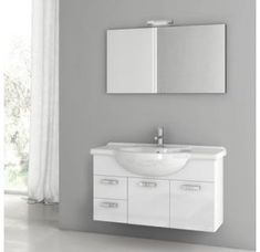 Buy the Nameeks ACF Glossy White Direct. Shop for the Nameeks ACF Glossy White ACF Wall Mounted / Floating Vanity Set with Wood Cabinet, Ceramic Top with 1 Sink and 1 Mirror and save. Vanity Set With Mirror, Wall Mounted Vanity, Wood Vanity, Vanity Cabinet, Wall Mirror, Single Bathroom Vanity, Bathroom Sets, Floating Vanity, Modern Bathroom Design