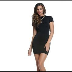 Exposed Backside Dress #884561-BLAS Short sleeve bodycon dress with large backside cutout. 92% Polyester 10% Spandex. Dresses