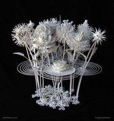 Filigree Floral Sculpture Produced with Innovative 3D Printing artist and inventor Joshua Harker has been working on a new 3D printing technology that pushes the limits of the quality, capability, cost, access, & ease of use.
