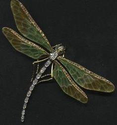 Art Nouveau dragonfly pin