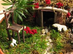 fairy furniture and decorations....this is from a good website with tutorials and such for all things fairie.  =)